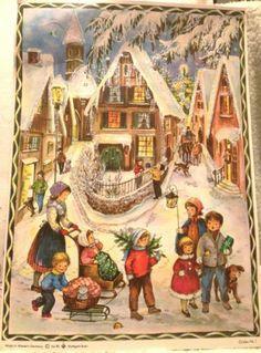Vintage Richard Sellmer West Germany Advent Calendar Village Scene With Glitter