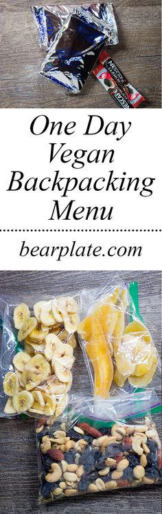 One-day vegan backpacking menu with grocery store items! No freeze-dried meals. No dehydrator required. Hiking Food, Backpacking Food, Camping Meals, Ultralight Backpacking, Hiking Tips, Hiking Gear, Food Expo, Junk Food Snacks, Healthy Junk Food
