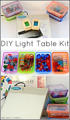 diy table DIY light table kit for kids that includes lots of dollar store items and homemade accessories from And Next Comes L Sensory Activities, Sensory Play, Activities For Kids, Crafts For Kids, Arts And Crafts, Sensory Rooms, Sensory Bins, Rainbow Activities, Autism Sensory