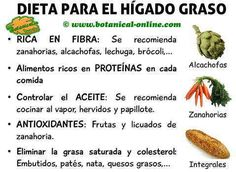 Dieta recomendada adecuada para el higado graso, alimentos recomendados