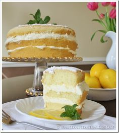 Olive Garden Lemon Cream Cake - (The ACTUAL restaurant recipe! The most amazing Lemon Cream Cake you have ever tasted. It's an Olive Garden Copycat recipe, only better! Lemon Desserts, Lemon Recipes, Just Desserts, Sweet Recipes, Cake Recipes, Dessert Recipes, Lemon Creme Cake, Lemon Cream, Yummy Treats