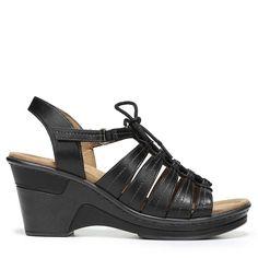 Natural Soul Women's Ronnie Medium/Wide Wedge Sandals (Black) - 11.0 M