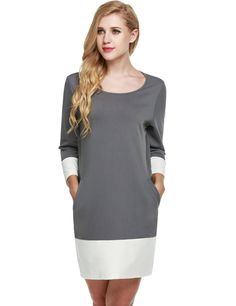 Camel Patchwork 3/4 Sleeve Loose Pockets Mini Shift Casual Dress