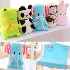 Washable Baby Kids Blanket Animal Toy Soft Smooth Plush Dolls Decor&Office Use
