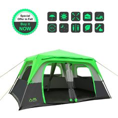 Arctic Monsoon 8 Person 2 Room Instant Tent Starry I1, 14x10', Shipped from US, Easily Set Up in 30s, GreenGrey >>> This is an Amazon Affiliate link. See this great product.