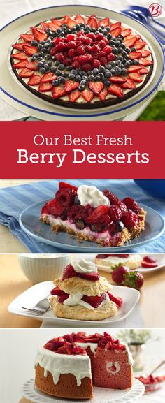 Berry Desserts to Make While the Season Is Ripe Don't let one precious berry go to waste this summer! Here are 14 of our favorite desserts–from brownie pizza to shortcake–that make the most of fresh berries all season long. Strawberry Recipes, Fruit Recipes, Cake Recipes, Dessert Recipes, Dessert Dips, Desserts To Make, Summer Desserts, Delicious Desserts, Yummy Food