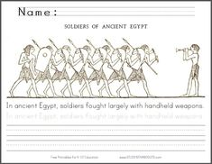 Ancient Egyptian Soldiers Coloring Page with Handwriting Practice