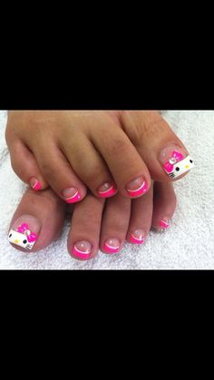 41 Summer Toe Nail Designs Ideas That Will Blow Your Mind - Hello Kitty Simple Toe Nails, Cute Toe Nails, Summer Toe Nails, Pretty Nails, Pedicure Designs, Toe Nail Designs, Short Nail Designs, Simple Nail Designs, Pedicure Ideas