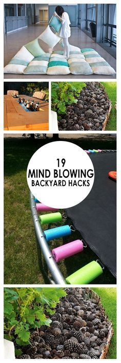 19 Mind-Blowing Backyard Hacks ~ Bees and Roses - - Have tons of backyard fun this summer with a few of my favorite backyard hacks! Tips for toys, yards, gardens and more. These hacks will make having a back yard a breeze. Backyard Projects, Outdoor Projects, Backyard Ideas, Outdoor Fun, Outdoor Spaces, Outdoor Bowling, Simple Life Hacks, Mind Blown, Outdoor Living