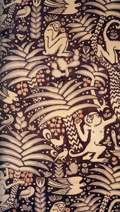 'Urwald' textile design by Ludwig Heinrich Jungnickel, produced by The Wiener Werkstatte in 1910 palm, textil design, textile design, monkey
