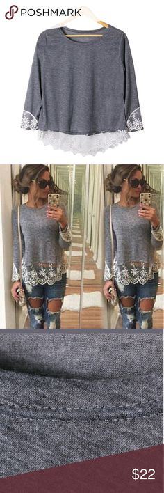 Casual Long Sleeve Gray Shirt W/ Lace Brand New, Never Worn, Still in pack, Casual Long Sleeve Gray Shirt W/ Lace. BEAUTIFUL AND CLASSY AND APPROPRIATE TO WEAR ANYWHERE OR WITH ANYTHING,  AND IT'S SO CUTE. WOMRN'S SIZE LARGE Tops Tees - Long Sleeve