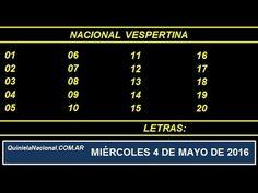 Quiniela Nacional Vespertina Miercoles 4 de Mayo de 2016 www.quinielanacional.com.ar