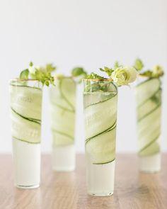 Cucumber + Kiwi Gimlets on Sugar and Charm! The perfect drink to welcome spring!! Cheers!!