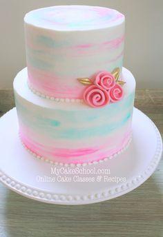 Hermosa acuarela Buttercream Tutorial por MyCakeSchool.com! Torta en línea Clases y Recetas de decoración!