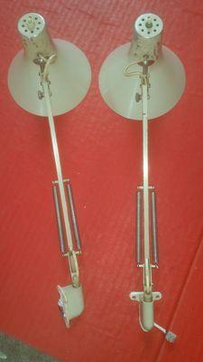 Philips - twee zeldzame industriële werk/tekentafel lampen