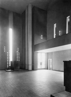 Ceremonial Hall at Central Cemetery, Brno, Czech Republic by Bohuslav Fuchs and Josef Polášek, Sacred Architecture, Contemporary Architecture, Architecture Design, Light And Space, Bauhaus, Czech Republic, Prague, Cemetery, Functionalism