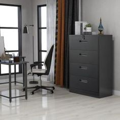 This lateral file cabinet is made of steel and has four full suspension file drawers for storing and accessing letter-size or legal-size hanging files. Each drawer is equipped with 1 long Bar and 2 short Bar, which can be adjusted to hang Files of di Steel Filing Cabinet, White Beadboard, Black Drawers, Lateral File, Modular Storage, Couch Furniture, Black Furniture, Hanging Files, Glass Cabinet Doors
