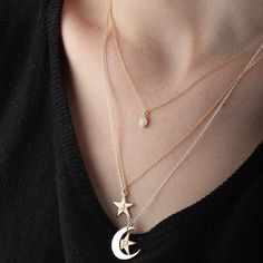 Catbird stacked necklaces with crescent moon, star, & pearl pendants