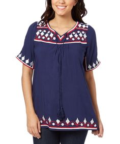 Blue & White Embroidered Tassel-Neck Top