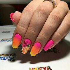 Beautiful nails, Fruit nails, Obmre gel polish nails, Obmre nails, Party nails, Summer nail art , Unusual nails, Vacation nails