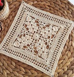 How to Crochet a Solid Granny Square Crochet Doily Diagram, Crochet Motifs, Granny Square Crochet Pattern, Crochet Blocks, Crochet Squares, Filet Crochet, Crochet Doilies, Crochet Stitches, Crochet Curtains