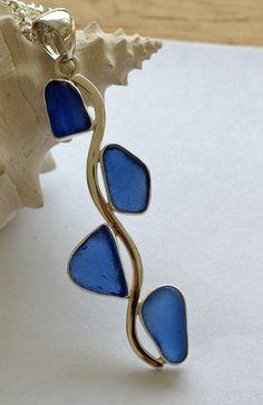 Blue Sea Glass Pendant/Necklace