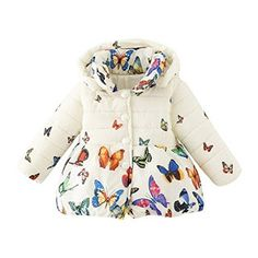 5c71a375d BOBORA Baby Girl Butterfly Pattern Coat Winter Warm Hoodie Down Jacket  Outwear >>> Check this awesome product by going to the link at the image.