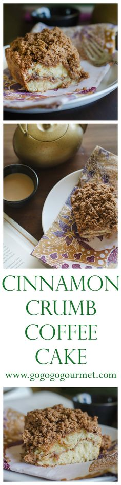 Start your morning off with a piece of cinnamon-y  heaven. Cinnamon Crumb Coffee Cake | Go Go Go Gourmet @gogogogourmet