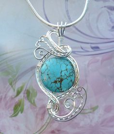 Stabilized Turquoise Star Pendant Wire Wrapped Jewelry Handmade in Silver With Free Shipping