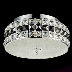 Contemporary LED Clear Crystal Flush Mount Ceiling Light with Glass Chandelier Glass Diffuser, Flush Mount Lighting, Glass Chandelier, Drum Shade, Clear Crystal, Steel Frame, Contemporary Design, Light Fixtures, Chrome