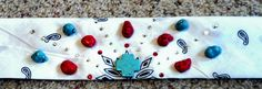 white bandana with turquoise and red stones and Swarovski crystals