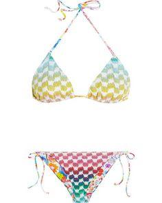 Missoni Crochet-knit printed reversible triangle bikini