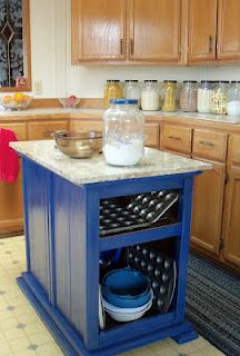 DIY kitchen island from nightstands!  I think I would leave the drawers in, though.