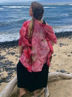 Hand Dyed Pink Silk Butterfly Kimono Ice Dyed by JBCreationsMaui