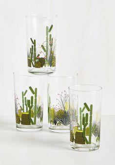 Houseplant the Idea Glass Set. Heres a thought - get your green thumbs on this drinking glass set and let its patterned succulents give you the joy of having desert first! #multi #wedding #modcloth