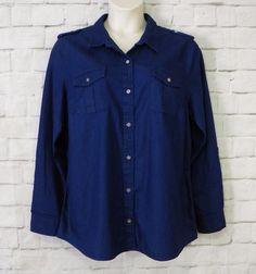 Womens JONES NEW YORK JEANS Indigo Denim Button Front Roll Tab Sleeves Top SZ XL #JonesNewYorkJeans #ButtonDownShirt #Casual