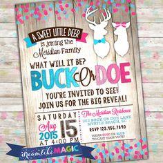 Buck Or Doe Gender Reveal Deer Party Invitation Printable Invite Pink Blue Girl Boy Sex Reveals