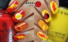 Nail Stamping: DC Comics The Flash vs Reverse Flash (Professor Zoom). Fab ur nails Fun 11, Bundle Monster & Born Pretty