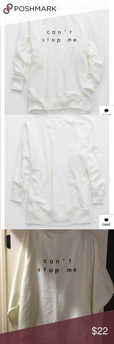 NWTS American Eagle over sized sweatshirt Sz m American eagle white over sized sweatshirt Sz medium NWTS American Eagle Outfitters Tops Sweatshirts & Hoodies
