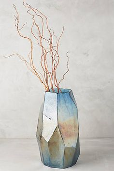 Hand-blown iridescent angle vase is so going on the wedding registry.