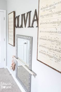 DIY Oversized Sheet Music and DIY Ballet Barre | Bless'er House - This entire wall cost just $75 total!