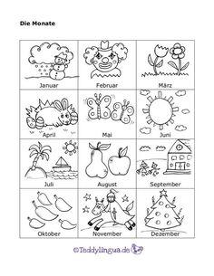 The months - Education Primary School, Pre School, Kindergarten Portfolio, German Language Learning, Learn German, Study German, Kids Corner, Kids Education, Kids And Parenting