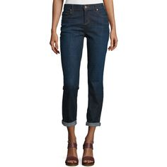 Eileen Fisher Slim-Leg Cropped Boyfriend Jeans (1 820 SEK) ❤ liked on Polyvore featuring plus size women's fashion, plus size clothing, plus size jeans, deep indigo, slim jeans, eileen fisher, rolled cuff jeans, slim fit blue jeans and slim fit jeans