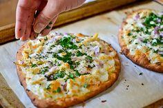 Roasted Garlic, Chicken  Herb Flatbread Pizza