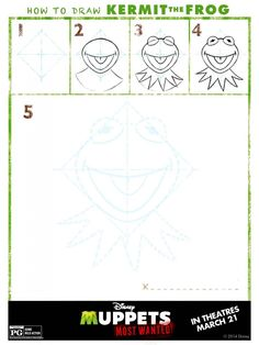 How to Draw Kermit the Frog from Muppets Most Wanted (www.memyselfandjen.com)