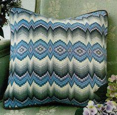 A traditional design in blues and greys. Tapestry Kits, Bargello, Traditional Design, Blues, Cross Stitch, The Incredibles, Throw Pillows, Punto De Cruz, Toss Pillows