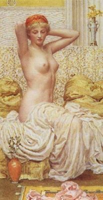 Myrtle, 1886 by Albert Moore.   Albert Joseph Moore (4 September 1841 – 25 September 1893) was an English painter, known for his depictions of languorous female figures set against the luxury and decadence of the classical world.