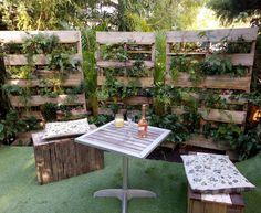 Green wall, pallet wall, herb wall, vertical garden, pop-up garden, rustic wooden furniture