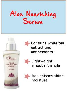 Aloe Nourishing Serum with white tea extract preserves and replenishes your skin's moisture to help maintain its youthful appearance Its lightweight formula is so smooth that it is effortless to apply. The combination of ale, white tea extract, mimosa bark and antioxidants provide excellent protection from free radical damage. .