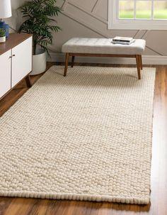 Ivory 8' x 10' Felt Ball Rug | Rugs.com Carpet Flooring, Rugs On Carpet, Carpets, Indoor Outdoor Kitchen, Denim Rug, Felt Ball Rug, Solid Rugs, Modern Traditional, Natural Rug